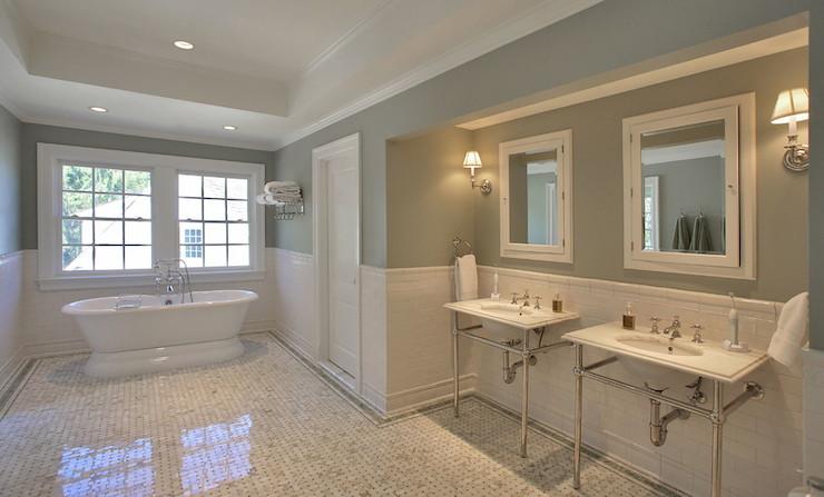 Half Tile Wall Transitional Bathroom Block Builders