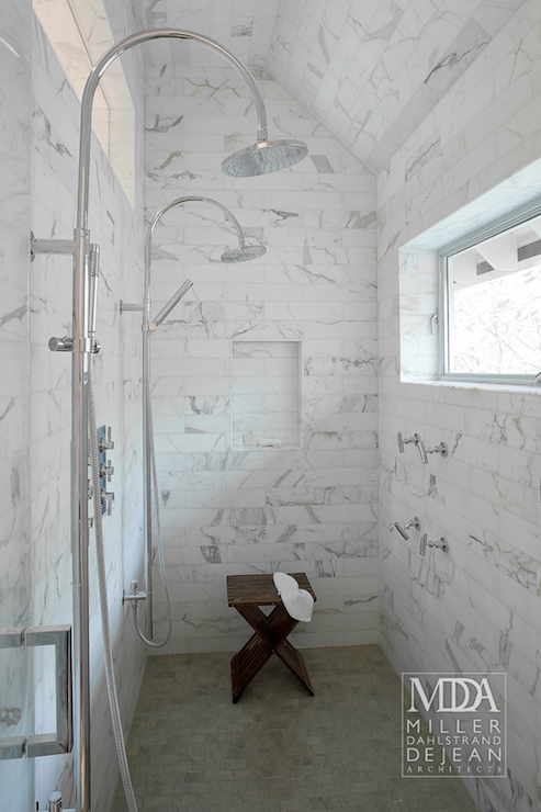 MDD Architects - bathrooms - walk in shower, walk in shower ideas, white marble subway tiles, his and her shower heads, shared shower, shower for two, shower for 2, tiled shower niche, shower niche, shower stool, teak shower stool, shower window,