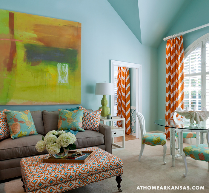 Orange chevron curtains contemporary living room at home in arkansas for Chevron curtains in living room