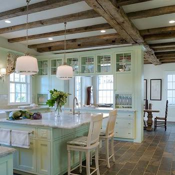 Mint Green Cabinets, Country, kitchen, Block Builders Group