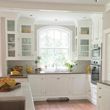 Cambria Devon, Transitional, kitchen, Benjamin Moore Senora Gray, Kitchens by Eileen
