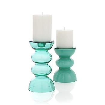 Decor/Accessories - Gemma Candleholders | Crate and Barrel - sea glass colored candleholder, blue green glass candleholder, contemporary sea glass colored pillar holder,