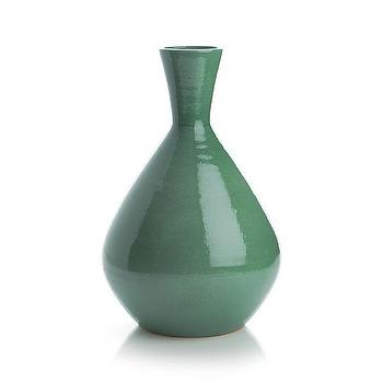 Decor/Accessories - Lola Vase | Crate and Barrel - teal vase, green vase, green terracotta vase,