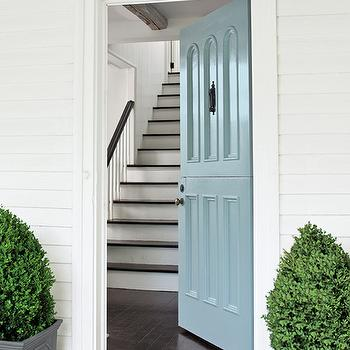 Benjamin Moore - home exteriors - blue door, blue front door, powder blue door, potted topiary,  Beautiful home with front door painted powder