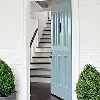 Benjamin Moore - home exteriors: blue door, blue front door, powder blue door, potted topiary,  Beautiful home with front door painted powder