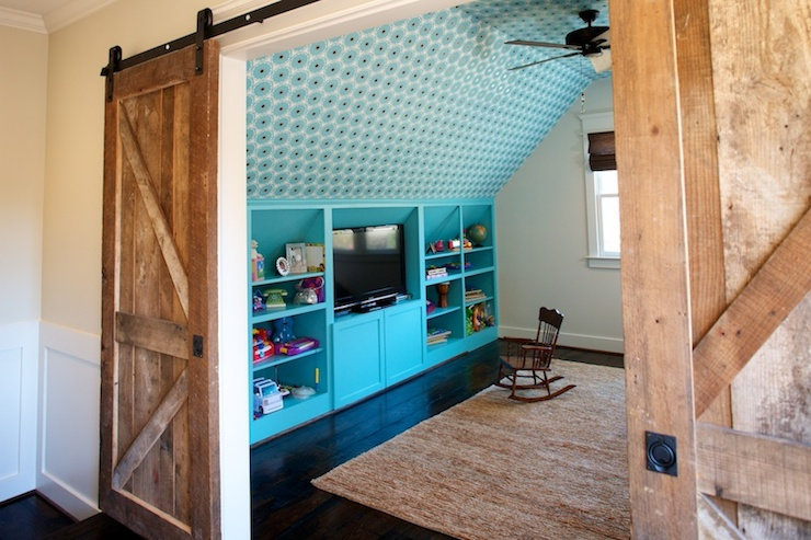 Turquoise Built Ins Contemporary Boy S Room Twin