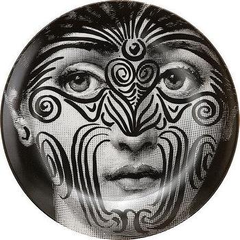 Decor/Accessories - Fornasetti Theme & Variations Decorative Plate #9 I Barneys.com - black and white tattoo face place, tattooed fornasetti face plate, tattoo face plate,