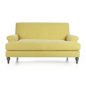 Seating - Camilla Loveseat | Crate and Barrel - yellow loveseat, yellow tufted back loveseat, yellow loveseat with turned wood legs,