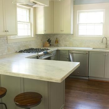 White Upper Cabinets Gray Lower Cabinets, Transitional, kitchen, Twin Companies