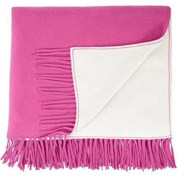 Decor/Accessories - Barneys New York Double-Faced Cashmere Throw I Barneys.com - fuchsia pink fringed throw, fuchsia pink cashmere throw, fuchsia pink and white reversible throw, reversible pink and white cashmere throw,
