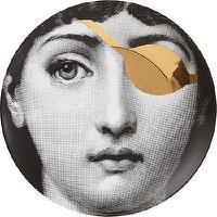 Decor/Accessories - Fornasetti Theme and Variations Plate #8 I Barneys.com - black and white face plate, black white and gold face plate, fornasetti face plate with gold eye patch, black and white face plate with gold eye patch,
