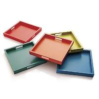 Decor/Accessories - Zuma Trays | Crate and Barrel - multi colored bar tray, red bar tray, red square shaped bar tray, yellow bar tray, yellow square shaped bar tray, orange bar tray, orange square shaped bar tray, blue bar tray, blue square shaped bar tray, green bar tray, green square shaped bar tray,