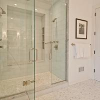 Benco Construction - bathrooms - frameless glass shower, seamless glass shower, shower for 2, his and her shower heads, shared shower, tiled shower niche, shower niche, shower bench, mosaic marble shower floor, shower floor,