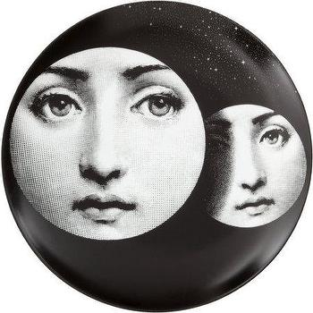 Decor/Accessories - Fornasetti Theme & Variations Decorative Plate #150 I Barneys.com - black and white face plate, black and white fornasetti plate, fornasetti face plate, fornasetti two face place,
