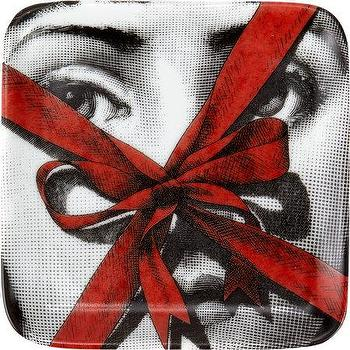 Decor/Accessories - Fornasetti Theme & Variations Square Small Tray I Barneys.com - black and white face plate with red ribbon, black and white face with red ribbon box face plate, black white and red fornasetti face plate,