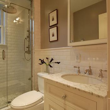 Beveled Subway Tiles, Transitional, bathroom, The Renovated Home