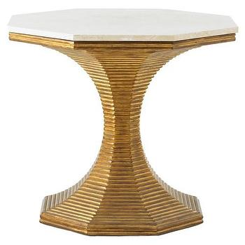 Tables - Bunny Williams Home Hourglass Table Gold I Zinc Door - gold table with hourglass base, ribbed gold base table, gold octagonal table with marble top, reeded gold pedestal table, reeded gold octagonal shaped table,