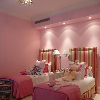 The Renovated Home - girl's rooms - bedroom bulkhead, bulkhead recessed lights, bulkhead pot lights, beige carpet, beige wall to wall carpet, twin beds, twin girls beds, twin girls bedroom, shared nightstand, striped headboard, striped headboard, striped headboard with matching bed skirt, pink green and white striped headboard, pink green and white striped bed skirt, striped headboard, striped girls headboard, striped kids headboard, white nightstand, two beds, two bed bedroom, two bed bedroom ideas, pink and white bedding, pink and white bed linens, pink coverlet, pink walls, pink girls room, bubblegum pink walls, bubblegum pink wall color, swing arm lamp, polished nickel swing arm lamp, polished nickel swing arm wall sconce, pink pillow, chandelier, girls room chandelier, crown molding, headboard with matching bed skirt, shared kids room, striped kids headboards, kids headboards,