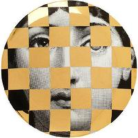 Decor/Accessories - Fornasetti Theme & Variations Decorative Plate #45 I Barneys.com - black white and gold face plate, black white and gold fornasetti face place, black and white face plate with gold checkerboard motif,