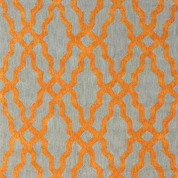 Rugs - Nicolette Wool and Cotton Area Rug in Orange design by NuLoom I Burke Decor - gray and orange geometric rug, gray and orange trellis rug, gray and orange lattice rug, gray and orange contemporary rug,