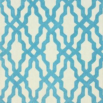 Rugs - Nicolette Wool and Cotton Area Rug in Aqua design by NuLoom I Burke Decor - aqua blue and white geometric rug, aqua blue and white trellis rug, aqua blue and white lattice rug, modern aqua blue and white rug,