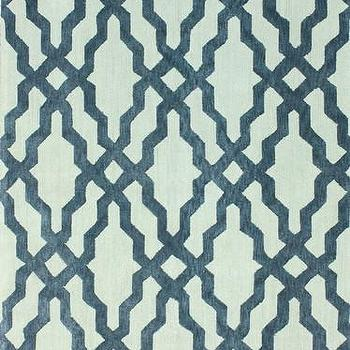 Rugs - Viv Plush Cotton Area Rug in Blue design by NuLoom I Burke Decor - blue gray geometric rug, blue gray modern rug, blue gray lattice rug, blue gray trellis rug,