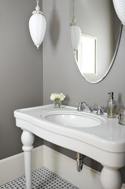 White and Grey Bathroom - French - bathroom - Tracey Ayton ...