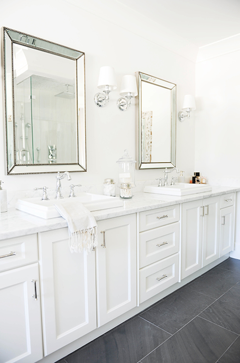 Beveled Beaded Mirrors Transitional Bathroom Tracey Ayton Photography