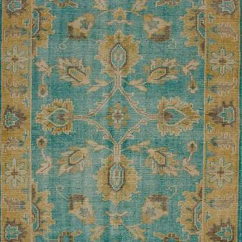 Rugs - Darius 100% Wool Area Rug in Turquoise design by NuLoom I Burke Decor - turquoise and gold rug, turquoise and gold traditional rug, turquoise and gold transitional rug, teal and gold traditional rug, teal and gold rug,