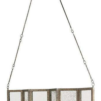Lighting - Deansgate Rectangular Chandelier design by Currey & Company I Burke Decor - antique mirrored chandelier, silver and antique mirror chandelier, antique mirror paneled chandelier,