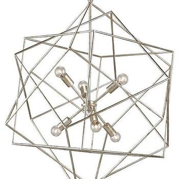 Lighting - Aerial Chandelier design by Currey & Company I Burke Decor - silver geometric chandelier, contemporary silver chandelier, modern silver chandelier,