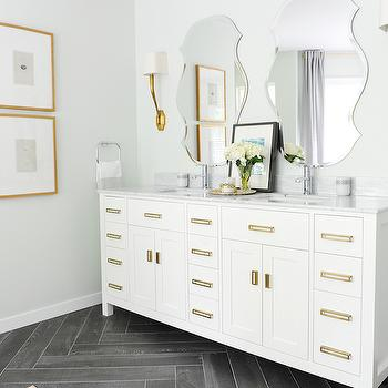 White Vanity with Brass Pulls, Contemporary, bathroom, Tracey Ayton Photography
