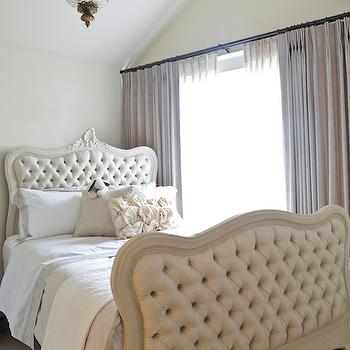 Tracey Ayton Photography - bedrooms - french bedrooms, vaulted ceiling, bedroom vaulted ceiling, vaulted ceiling bedrooms, glass and brass pendant, glass and brass light pendant, baroque bed, french beds, bed with headboard and footboard, ivory tufted bed, ivory french bed, ivory tufted bed, white and grey bedding, gray linen curtains, gray linen drapes,