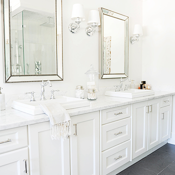 Tracey Ayton Photography - bathrooms - gray slate floor, beaded mirrors, beveled mirrors, beveled beaded mirror, beaded beveled mirror, vanity mirrors, restoration hardware mirror, his and her sinks, vintage style faucet, lugarno sconce, restoration hardware sconce, Venetian Beaded Mirror, Lugarno Single Sconce,