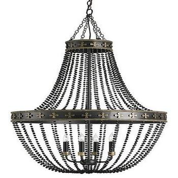 Lighting - Coptic Chandelier Shannon Koszyk Collection Currey & Company I Burke Decor - iron and beaded glass chandelier, iron chandelier with black glass beads, black beaded glass chandelier,