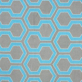 Rugs - Knob 100% Wool Area Rug in Blue design by NuLoom I Burke Decor - gray and blue geometric rug, gray and turquoise rug, contemporary gray and turquoise rug,