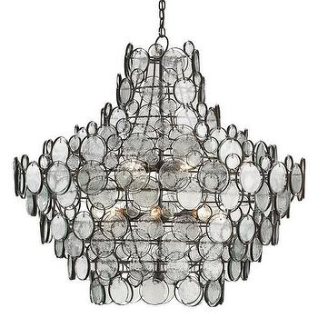 Lighting - Galahad Chandelier design by Currey & Company I Burke Decor - wrought iron and glass chadnelier, contemporary glass disc chandelier, iron chandelier with clear glass discs,