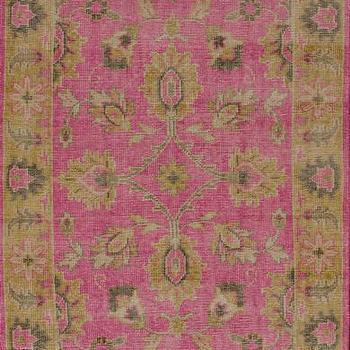 Rugs - Darius 100% Wool Area Rug in Fuchsia design by NuLoom I Burke Decor - pink and gold traditional rug, pink and gold transitional rug, fuchsia pink traditional rug, fuchsia pink wool rug,