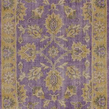 Rugs - Darius 100% Wool Area Rug in Purple design by NuLoom I Burke Decor - purple and gold rug, purple and gold traditional rug, purple and gold traditional rug,