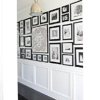 Tracey Ayton Photography - entrances/foyers - photo wall, black and white photo wall, long foyer, foyer photo wall, wainscoting, white wainscoting, foyer wainscoting, entry wainscoting, wainscoting foyer, oak wood floor, long entry, Benson Pendant,
