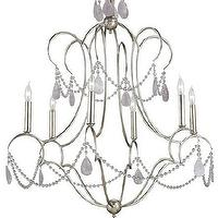 Lighting - Delamere Chandelier design by Currey & Company I Burke Decor - silver chandelier with amethyst crystals, silver chandelier with amethyst crystal droplets, silver and amethyst chandelier,
