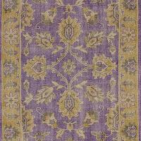 Rugs - Darius 100% Wool Area Rug in Purple design by NuLoom I Burke Decor - purple and gold rug, purple and gold traditional rug, purple and gold traditional rug,