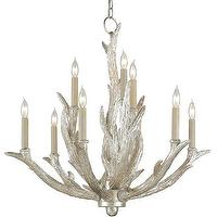 Lighting - Haywood Chandelier design by Currey & Company I Burke Decor - silver antler shaped chandelier, silver leafed antler chandelier, silver hollywood regency style chandelier,