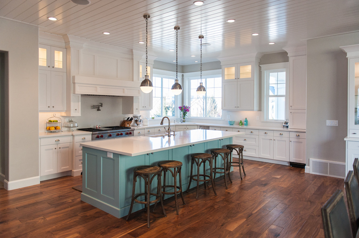Teal Kitchen Island Contemporary Kitchen Benjamin
