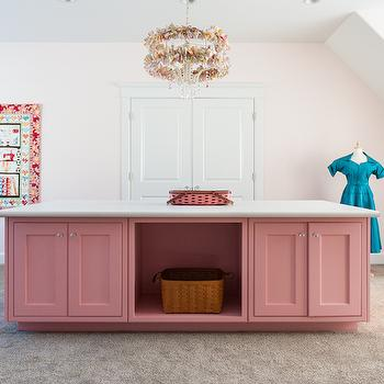 Mountain Cabinetry - dens/libraries/offices - craft room, craft room ideas, pink craft room, craft room island,  Pink craft room features pink