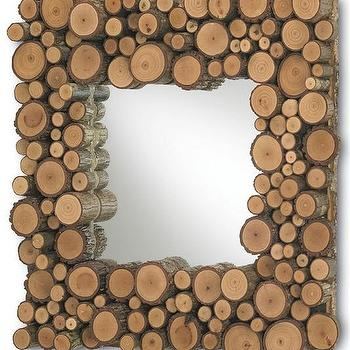 Mirrors - Elkmont Mirror, Square design by Currey & Company I Burke Decor - cut wood framed mirror, cut wood trimmed mirror, wooden stump mirror, square shaped mirror with cut wood frame,
