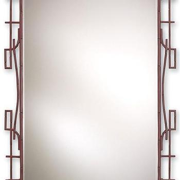 Mirrors - Dynasty II Mirror design by Currey & Company I Burke Decor - faux bamboo mirror, cast aluminium bamboo mirror, asian style oxblood mirror,