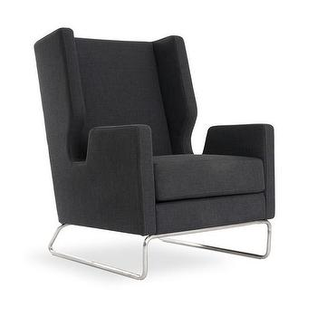 Seating - Danforth Chair in Assorted Colors design by Gus Modern I Burke Decor - dark gray modern wing back chair, modern gray wing chair, modern gray wing chair with stainless steel base, dark gray modern wing chair with stainless steel frame,