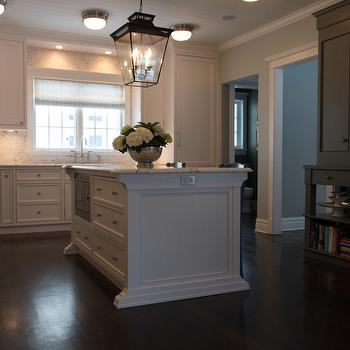 Scott Lyon & Company - kitchens - white inset cabinet fronts, white inset cabinetry, white kitchen cabinets, white kitchen island, narrow kitchen island, slim kitchen island, lantern pendant, lantern over kitchen island, nickel flush mount pendant, nickel and frosted glass flush mount pendant, dark hardwood floors, nickel hardware, marble mosaic backsplash, ceiling height marble mosaic backsplash, statuary marble counters, statuary marble countertops, paneled refrigerator, cabinet front fridge, paneled fridge with freezer drawers, dual refrigerators, pair of refrigerators, gray roman shade, planked ceiling, tongue and groove clad ceiling, wood paneled kitchen ceiling, painted tongue and groove ceiling, dark stained kitchen cabinets, dark stained open kitchen cabinets, under the counter microwave, integrated microwave, stainless steel microwave, kitchen island microwave, concealed fridges, concealed freezers, hidden fridges, hidden freezer drawers, iron lanterns, kitchen island lantern, double fridges, double refrigerators, kitchen flushmounts, kitchen flush mounts, kitchen hutch, gray hutch, built in hutch,