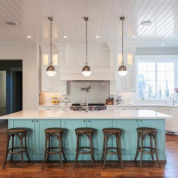 Blue Kitchen Island, Contemporary, kitchen, Benjamin Moore Wedgewood Gray, Mountain Cabinetry